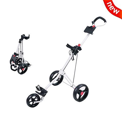 2020 New Opvouwbaar Golf Cart, 3 Wheel Push Pull Golf Stalen Frame Kar Swivel (Wit)