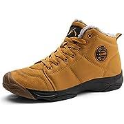 AZOOKEN Winterschuhe Herren Damen Wasserdicht Trekking Wanderstiefel Schnee Stiefel mit Warm Gefüttert (6118-yellow40)