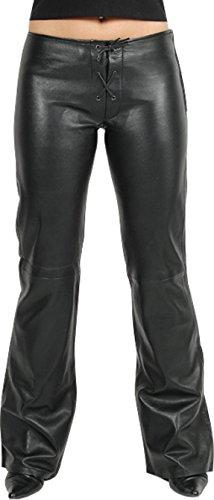 Lederhose Damen lang - Lederjeans- Echt Leder, Lederhose Jeans 501 schwarz mit Reissverschluss- Motorrad Lederjeans- Fuente Moderne Lederhose im Lamm-Nappa (W31, Schwarz)