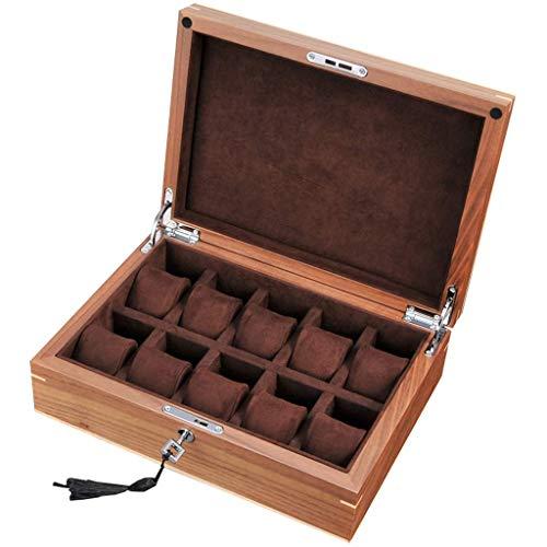 Ayanx - Caja de almacenamiento para relojes de hombre o mujer (madera, 10 ranuras, incluye fundas de viaje con almohadas blandas y cierre de metal con cerradura