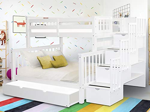 Bedz King Stairway Bunk Beds Twin over Full with 4 Drawers in the Steps and a Full Trundle, White