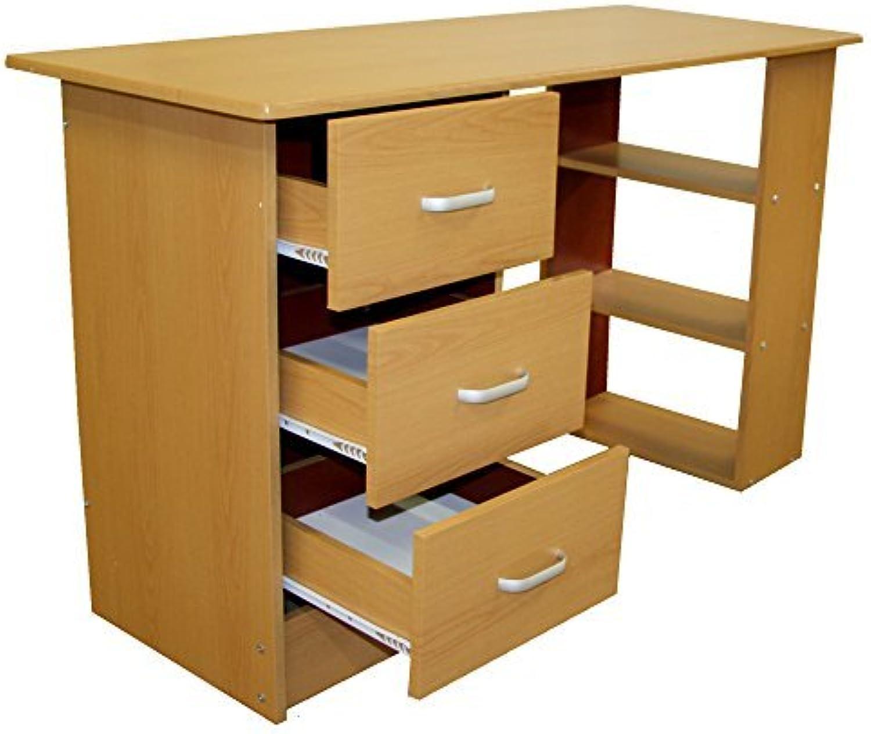 rotstone Schreibtisch Computertisch 3 Schubladen 3 Regale (Buche)