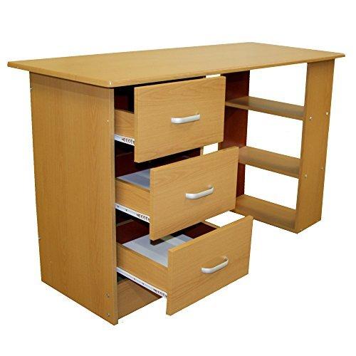 Redstone Schreibtisch - 3 Schubladen + 3 Regale - Schwarz Weiß Buche Nussbaum - Arbeitstisch Computertisch Bürotisch (Buche)