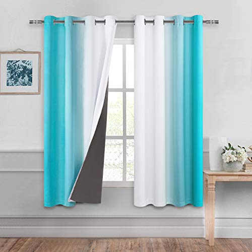 DWCN Ombre 100% Blackout Curtains for Bedroom – Thermal Insulated, Energy Saving & Noise Reducing Gradient Grommet Curtains for Living Room, Turquoise, W 52 x L 63 Inch, Set of 2 Lined Curtain Panels