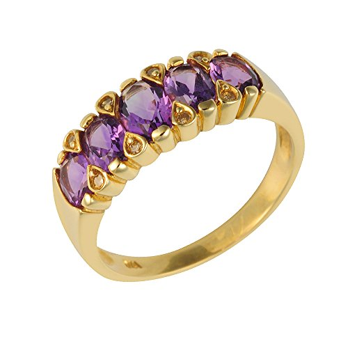 Ivy Gems 9ct Yellow Gold Amethyst and Diamond Graduated Half Eternity Ring - Size N