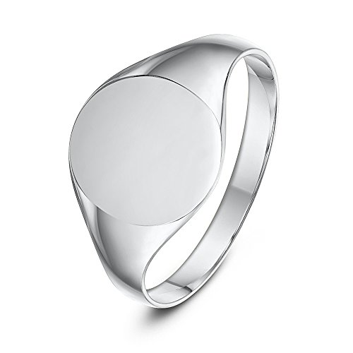 Oval Signet Ring Women's Sterling Silver 925 Hallmarked Ladies Signed Oval Shaped Signet Ring (H)