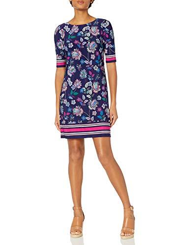 Eliza J Women's T-Body Shift Dress with Stripe Detail Casual, Cobalt, 8