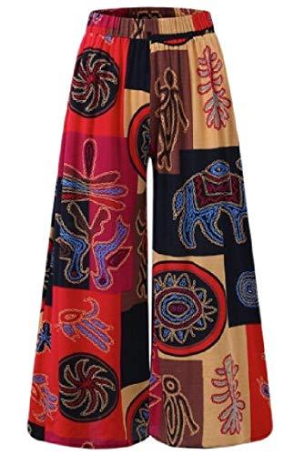 MK988 Pantalones Palazzo de Moda con Estampado Africano, Cintura Alta, Pierna Ancha, para Mujer Rojo Rosso US Large