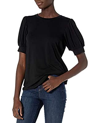 Amazon Brand - Daily Ritual Women's Supersoft Terry Puff-Sleeve Top, Black, XX-Large