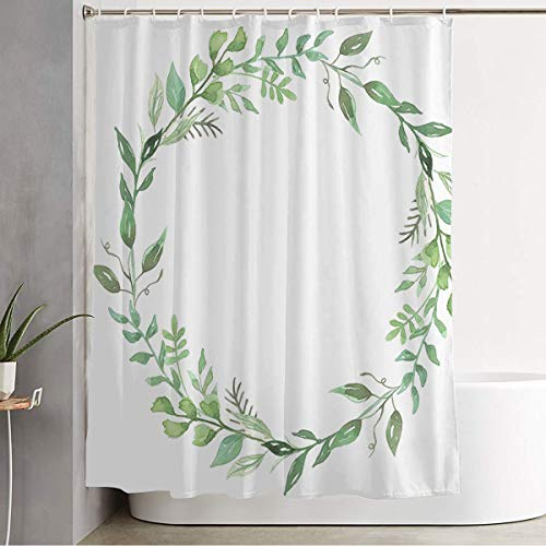Shower Curtain Green Circle Watercolor Leaves Wreath Hand Leaf Nature Fall Floral Foliage Garland Autumn Flowers Bathroom Decorations Waterproof Polyester Fabric with Hooks 60' x 72'