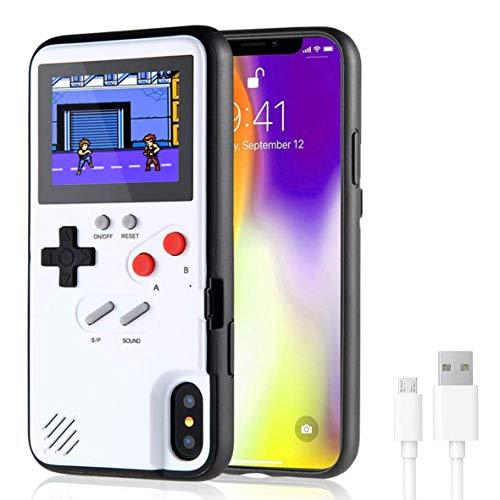 VKSG Gameboy Schutzhülle für iPhone, Retro 3D Handyhülle Handheld Spielkonsole mit 36 klassischen Spielen, Vollfarbdisplay, stoßfeste Videospiel-Handyabdeckung für iPhone Xs MAX (weiß)