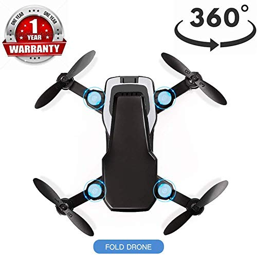 ZGYQGOO Quadcopter, Drones Live Video, 360 ° Flips Long Control Distance, GPS WiFi HD Camera Live Video GPS 4 Axis Gyro, Modo sin Cabeza Largo Alcance, con batería incorporada, Negro
