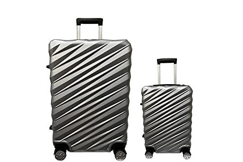 Set 2pz Valigia Trolley Bagaglio a Mano ABS Rigido S/M Silver 4 Ruote Girevoli