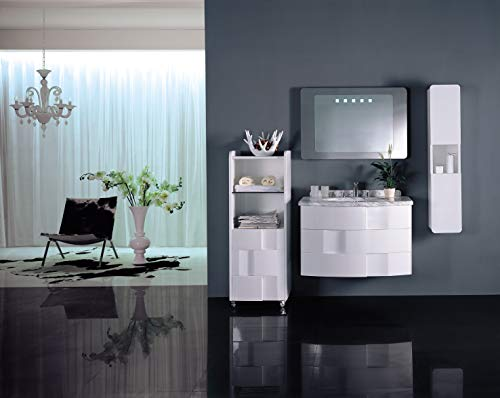 Designwaschtisch Luxus Waschtisch Marmor Spiegel Badmöbel 87x54,6x53,5 Weiß NEU