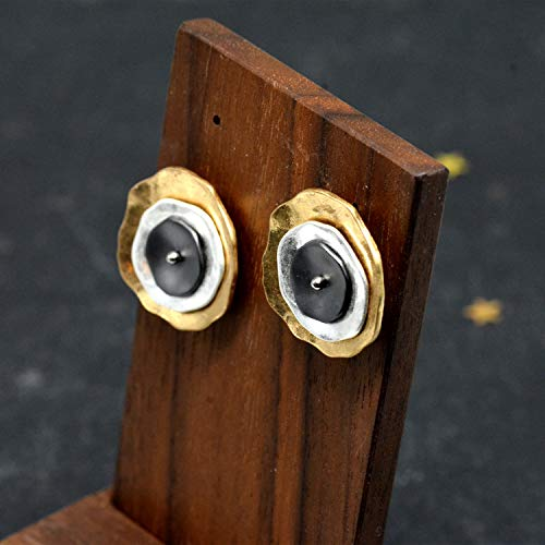 Mixed Metal Disk Large Poppy Stud Earrings, Gold Silver and lack, Hammered Finish Artisan Jewellery