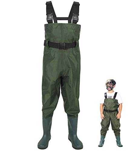 LANGXUN Hip Waders for Kids, Lightweight and Breathable PVC Fishing Waders for Children, Waterproof Bootfoot Waders for Boy and Girl, Army Green Chest Waders for Kids (4/5)
