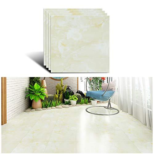 VEELIKE Pegatinas autoadhesivas para suelo de cocina Pegatinas para azulejos Azulejos de vinilo de mármol amarillo Azulejos de pared Pegatinas para baño Fácil de limpiar 30 cm x 30 cm 4 piezas