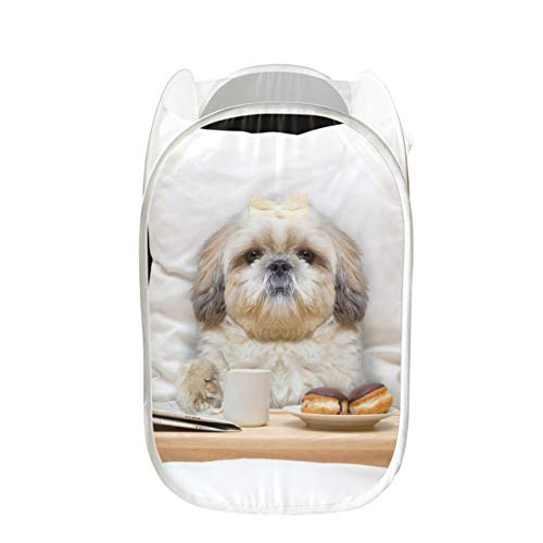GIRLOS Mens Hampers for Laundry Dog Eats in Bed Fun Laundry Basket Collapsible for Storage and Easy to Open Pop-up Mesh Bedroom Hampers for Laundry Great for Room Dorm and Travel