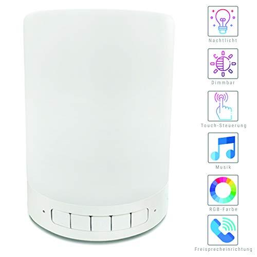 SYLVANIA Lampe mit Lautsprecher Bluetooth Lautsprecher mit SD und LED Nachttischlampe mit LED dimmbar Musikbox tragbarer Lautsprecher Farbwechsel Berührungssensor Handy verbindbar