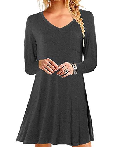 YOINS Damen Kleider Sommer Tshirtkleid für Damen Kleider Knielang Tunika Winterkleid V-Ausschnitt Elegant Brautkleid,V-dunkelgrau,L