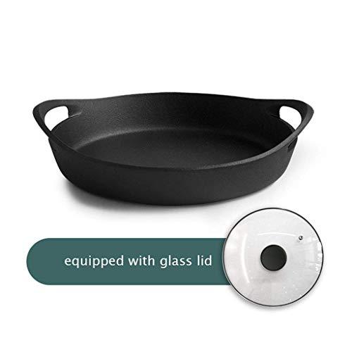 min min Wok Non StickGusseen Skillet Pfanne mit Glasdeckel MIT Doppeltem Griff 12.2Inch Cocina Universal-Antiadherente