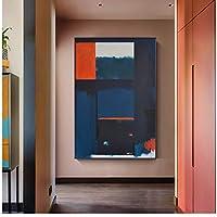 水彩抽象テクスチャキャンバスポスター幾何学的な色ブロック壁アートリビングルームの家の装飾のための壁の写真を印刷-60x90cmx1フレームなし