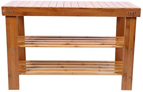Gabinete de zapatos de bambú de 2 capas Multifunción Zapato de zapatos Almacenamiento de almacenamiento Estante de reposabezas,Wood color