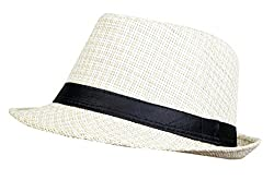Zacharias Unisex Cotton with Jute Printed Fedora Hat(Multicolour, Free Size)