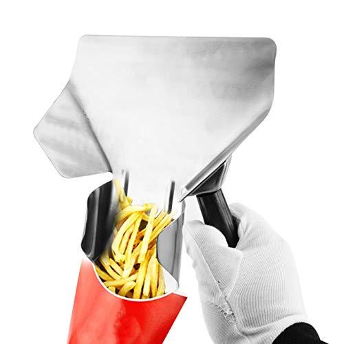 Pala para Patatas Fritas Papas Fritas Cuchara de Acero Inoxidable Papas Fritas Pala Comercial de Acero Inoxidable Francés Fry Bagger para Restaurantes de Comida Rápida Cocina Espesar Papas Fritas