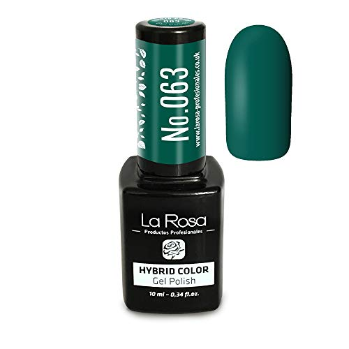 La Rosa UV LED Vernis hybride Semi-permanent gel N°063 - vert foncé avec une teinte délicate émeraude, très original et élégant