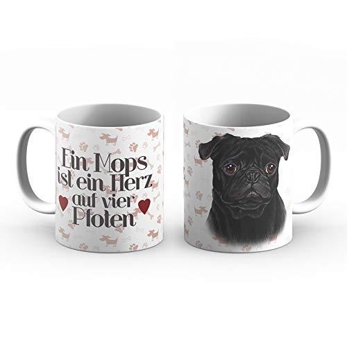 powergift Mops Tasse mit Spruch, Tasse Hund und Frauchen, Mops Becher – Für Dich/Lustige Texte/Tasse Weihnachten/Personalisierte Tasse/Kaffeetasse Groß