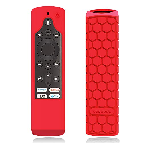 CaseBot Silicone Case for Fire TV Edition Remote - Honey Comb Series [Anti Slip] Shock Proof Cover for Amazon Insignia Smart HD TV Voice Remote/Element Smart TV Voice Remote, Red