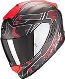 Scorpion Casco de moto EXO-1400 AIR SPATIUM Matt Silver-Red, Negro/Rojo, S