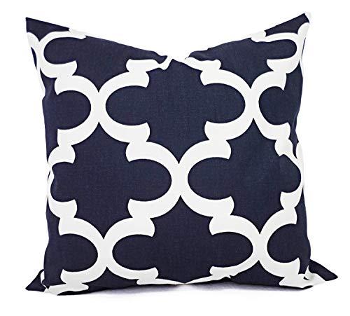 73Elley Decorative Pillow Covers Navy Quatrefoil Covers Blue Pillows Moroccan Tile Pillow Trellis Pillow Cover Navy Pillows