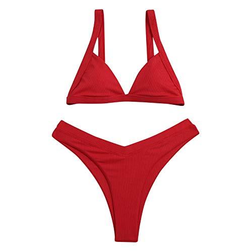 Bikini, bañador de cintura alta, sexy, color liso, dos piezas de verano rojo M
