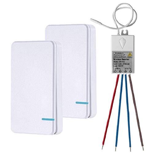 Thinkbee Funkschalter Set mit Fernbedienung, MINI Kabelloser Lichtschalter Wasserdicht Wireless Schalter für In/Außen Lampe 1000W Installierbar/Tragbar Funktaster 60.0000 Mal Verwendbar-2 Knöpfe