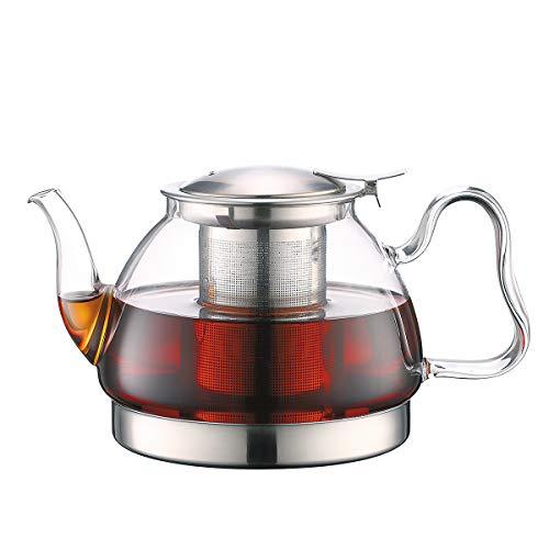 Toyo Hofu Teekanne aus klarem Glas mit Teesieb hitzebeständig Herdfest Induktion Herdfest herausnehmbar Edelstahl Ei 1100 ml