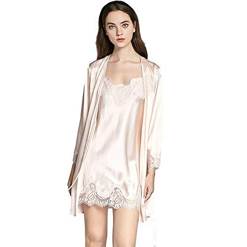 Joyunii Damen Kimono+Slipdress mit Blumenspitze 19mm Seide Pyjamas Set Morgenmantel Bademantel Nachtwäsche Sleepwear V Ausschnitt mit Gürtel
