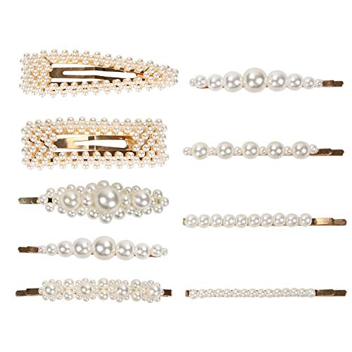 Pearl Hair Clips for Women 9 Pack Large Fashion Hair Barrettes Party Birthday Wedding Bridal Hair Clips 7