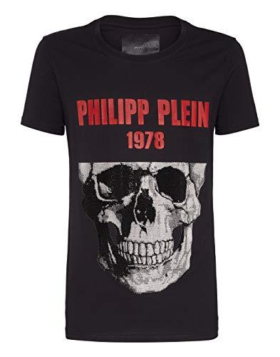 Philipp Plein Herren T-Shirt Round Neck SS Skull Schwarz Medium