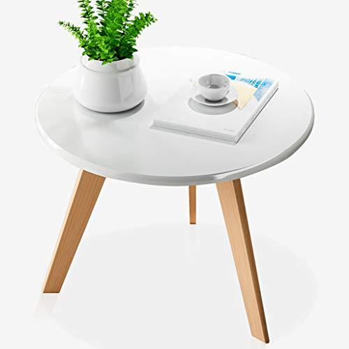 liudan Couchtisch Wohnzimmertisch Mode Kreative Nordic Runde Kleine Couchtisch Einfache Wohnzimmer Teetisch Massivholz Bein Couchtisch Weiß Sofatisch/Kaffeetisch Couchtisch (Color : A)