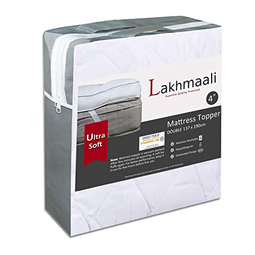 Lakhmaali Quilted Mattress Toppers Double Hypoallergenic Extra Soft 4 Inch Thick with Elasticized Corner Straps for Double Bed - Size (137x190 +10cm)