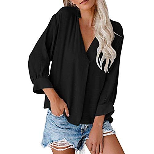Weant Damen Pullover, Damen Chiffon Bluse 3/4 Arm Tunika Blusen V Ausschnitt Leicht Asymmetrisch Shirt mit Trompetenärmeln