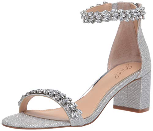 Jewel Badgley Mischka Women's BRONWEN Sandal, Silver Fabric, 8.5 M US