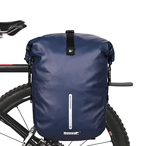 BAIGIO Bolsa 3 en 1 para bicicleta, adecuada como bolsa portaequipajes, mochila y bandolera, impermeable, reflectante (azul)