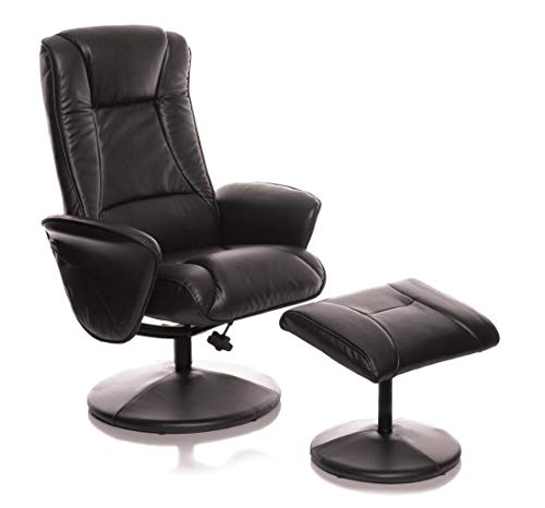 Morris Living Naples Chocolate Memory Foam Swivel Recliner Chair Faux Leather Matching Footstool