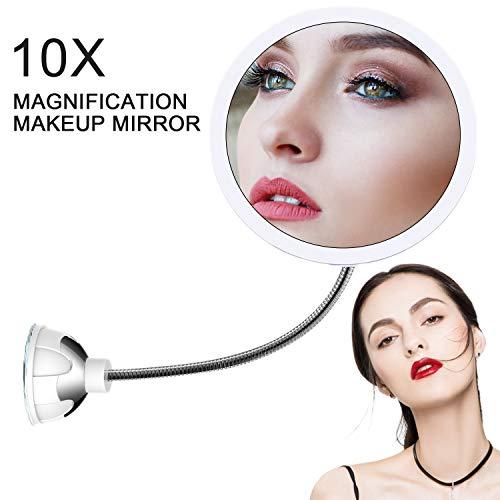STLOVe LED 10X Espejo de Maquillaje Aumento de 10X con Ventosa & el Cuello de Cisne Flexible Ajustable 360 ° Espejo de Baño