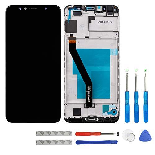 Pantalla LCD de swark compatible con Huawei Y6 2018 ATU-LX3 ATU-L11 ATU-L21 ATU-L22/Honor 7A/Enjoy 8E (negro con marco) pantalla táctil digitalizador Assembly cristal + herramientas