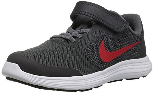 Nike Revolution 3 (GS), Zapatillas de Running Unisex Adulto, Black University Red Dark Grey, 36.5 EU