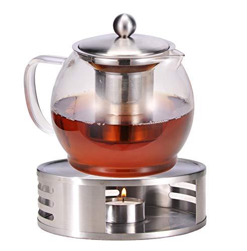 Bambelaa! Tetera con calientaplatos de Cristal, Jarra de té, Tetera de café, colador de té, Jarra, Calentador de té, Aprox. 1,2 litros